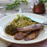 Патешки флейки с флажоле и песто 150x150 Ястия с месо и колбаси