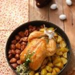 Пълнено пиле с гарнитура от кестени и картофи 150x150 Ястия с месо и колбаси