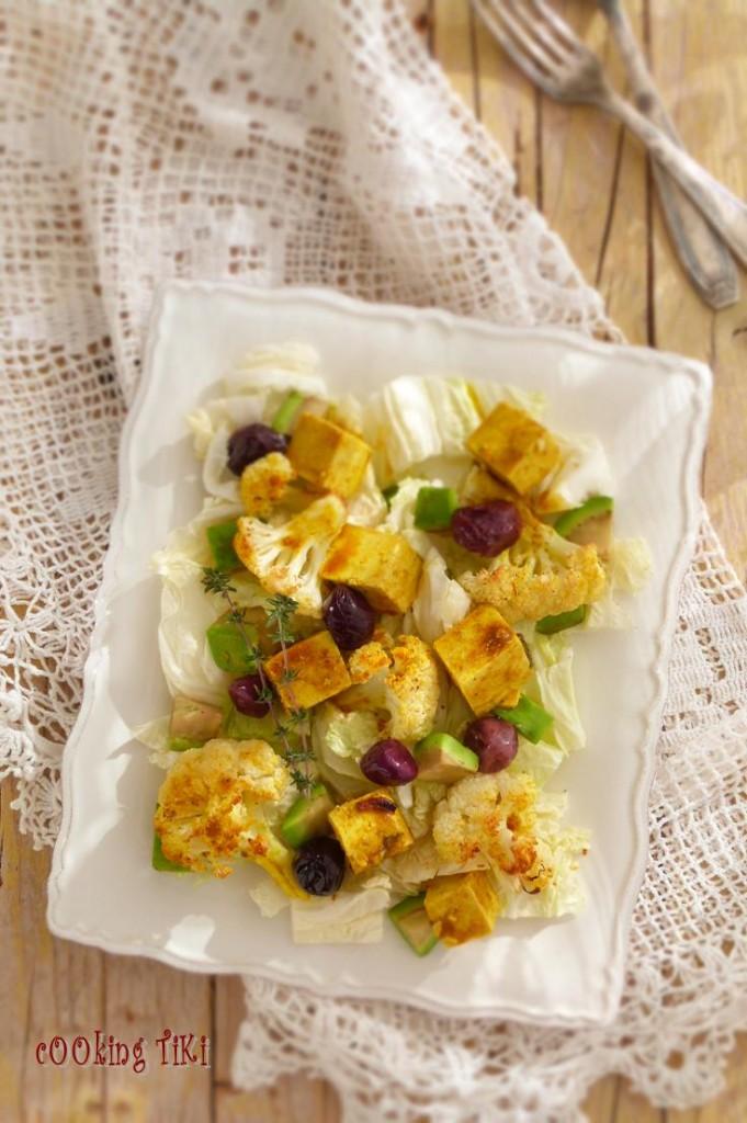 Салата с печен карфиол и мариновано тофу2 681x1024 Grilled cauliflower and marinated tofu salad