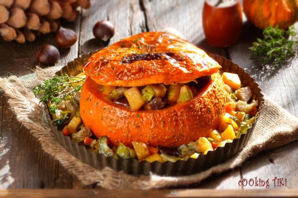 Постен гювеч в тиква 32 1024x682 Stuffed pumpkin with vegetables