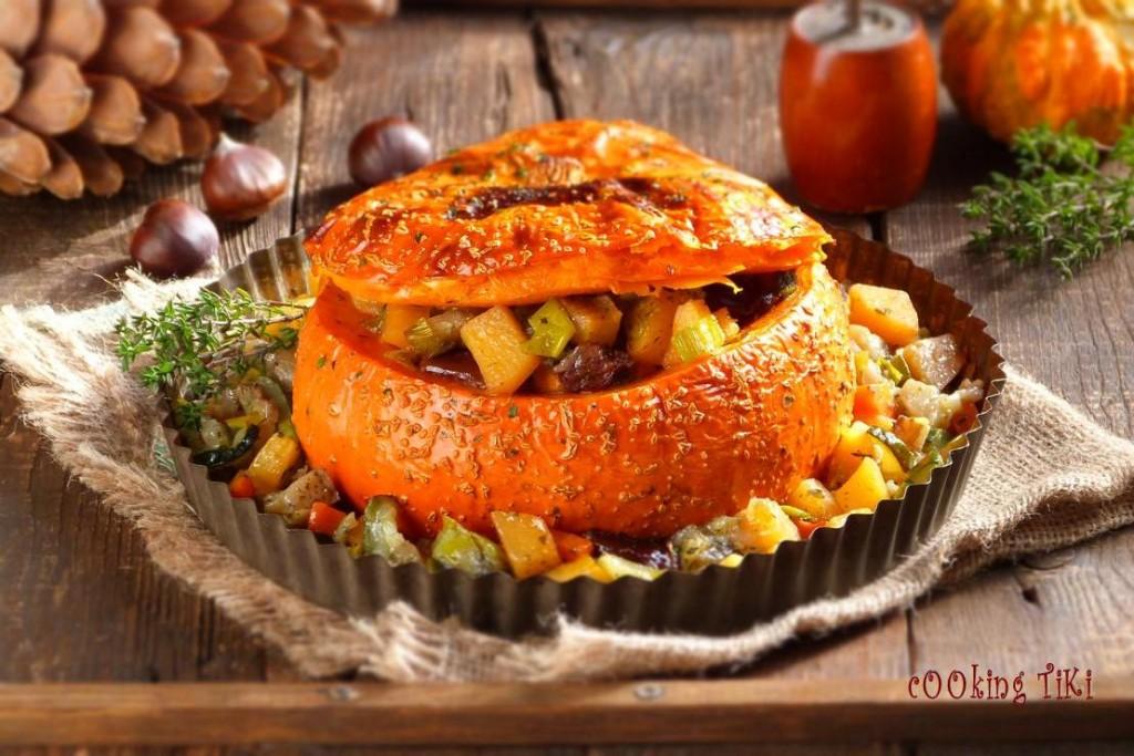 Постен гювеч в тиква2 1024x683 Stuffed pumpkin with vegetables
