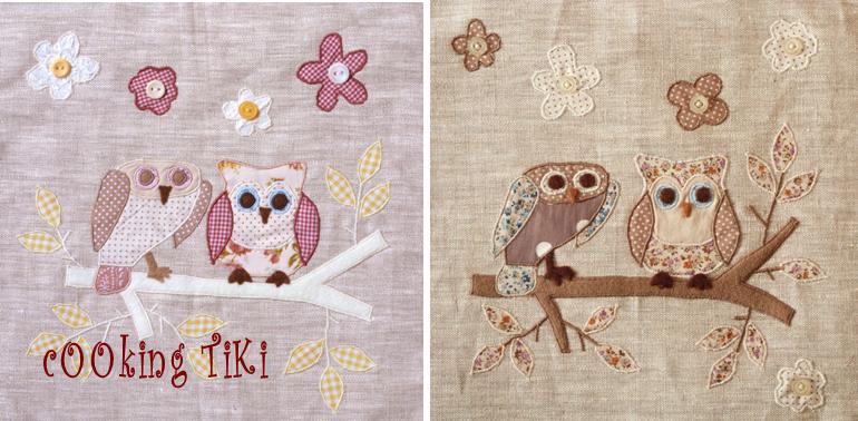 Бухалчета 3 Patchwork cushion   Two owls