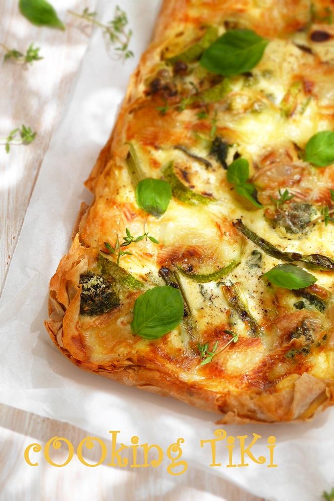 Киш със зелени зеленчуци и кори за баница 2b2 Green vegetable quiche on filo pastry