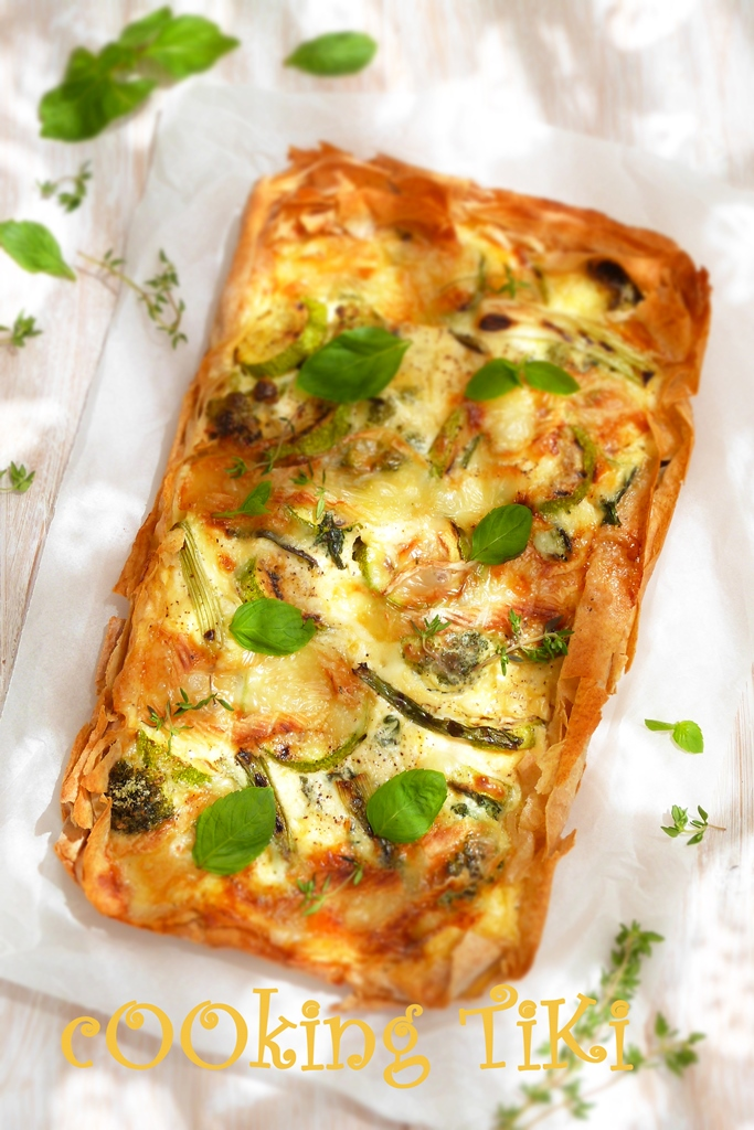 Киш със зелени зеленчуци и кори за баница b2 Green vegetable quiche on filo pastry