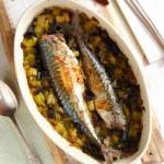Скумрия с праз и гъби1 150x150 Fish and sea food