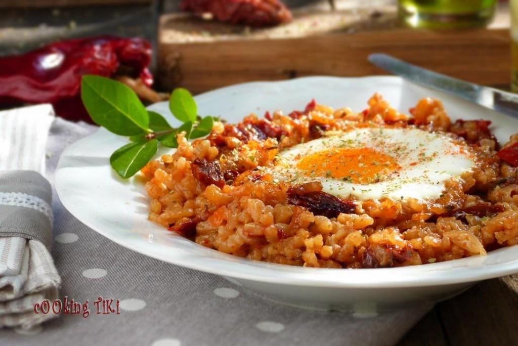 Ризото със сушени домати и яйце 1024x684 Dried tomato risotto with roasted eggs