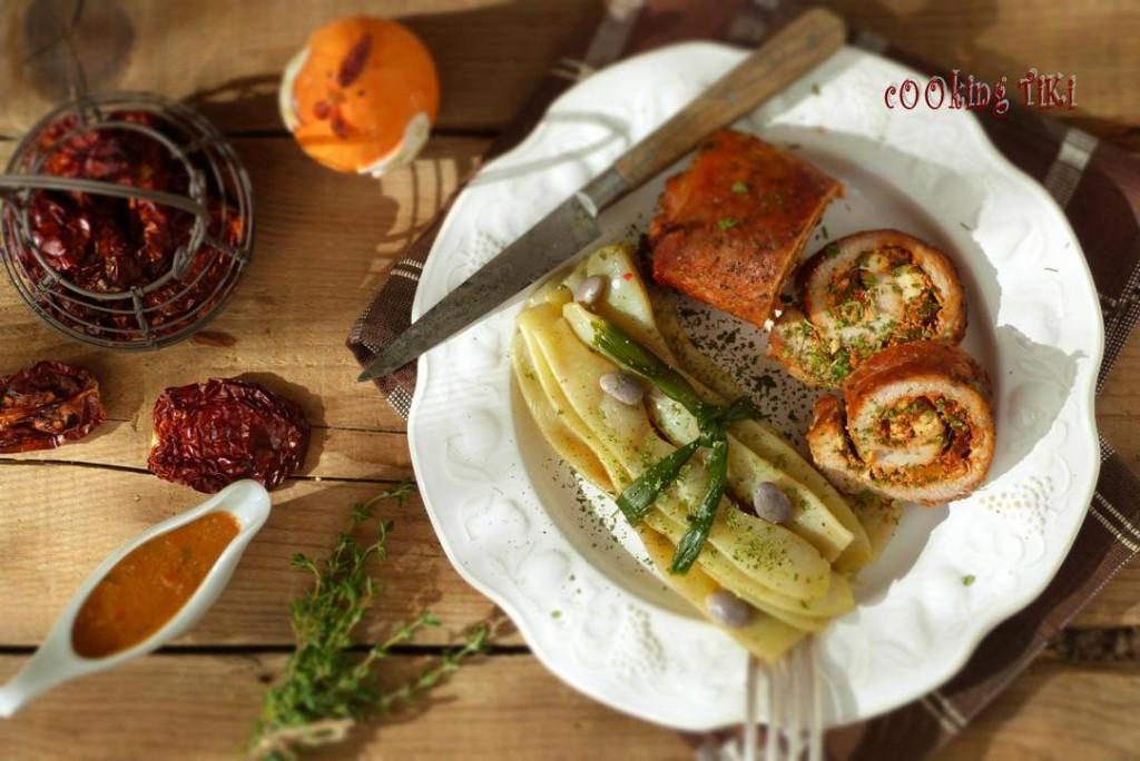 Рулца от свинско месо и козе сирене 21 1024x684 Pork rolls with goat cheese