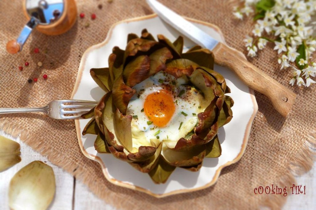 Артишок с яйце на фурна2 1024x680 Egg and mozzarella stuffed artichokes