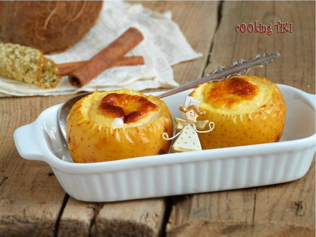 Крем карамел в ябълка1 Crème caramel in apple gourd