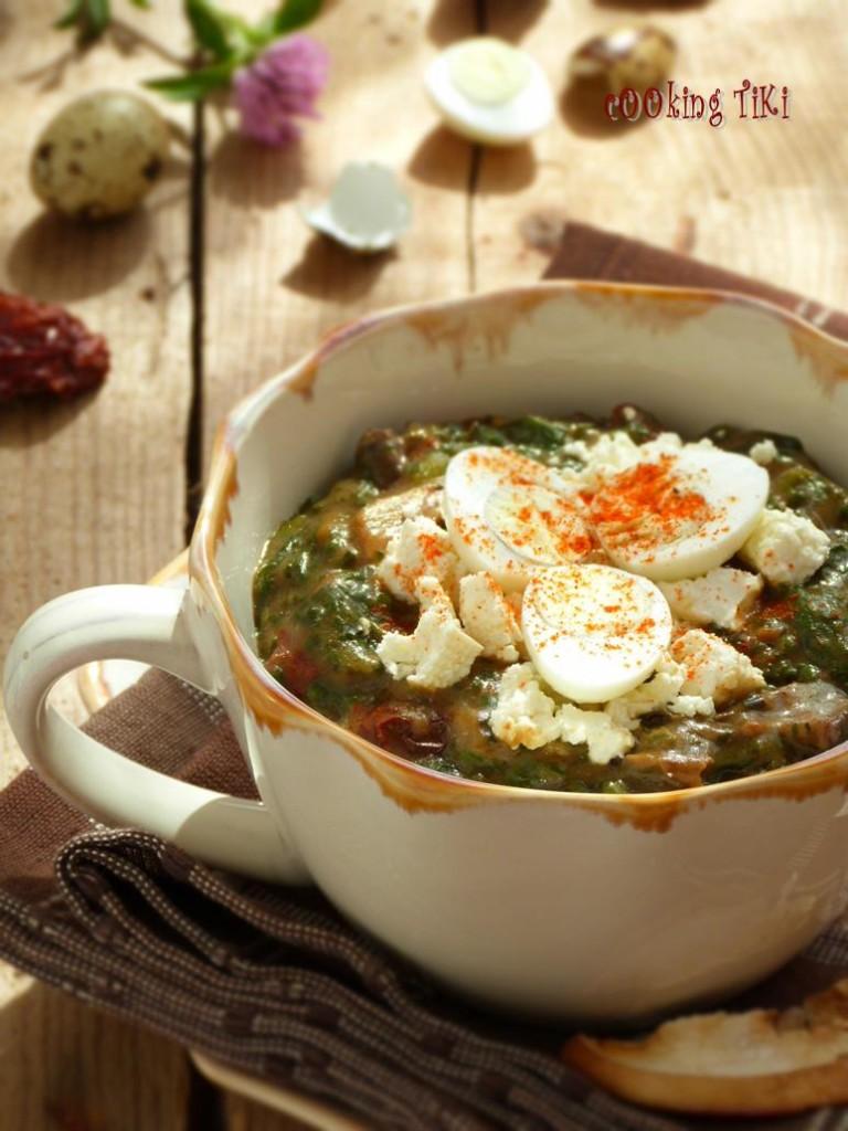 Копривеник с пумпалка и яйчица 21 768x1024 Nettle stew with morels and quail eggs