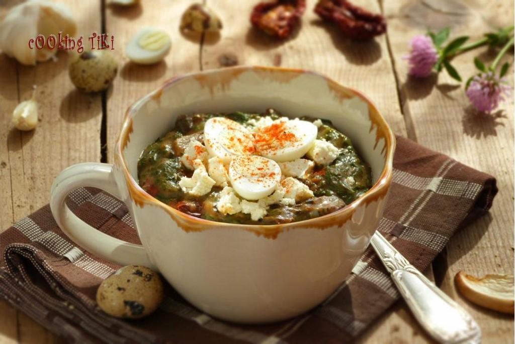 Копривеник с пумпалка и яйчица1 1024x683 Nettle stew with morels and quail eggs