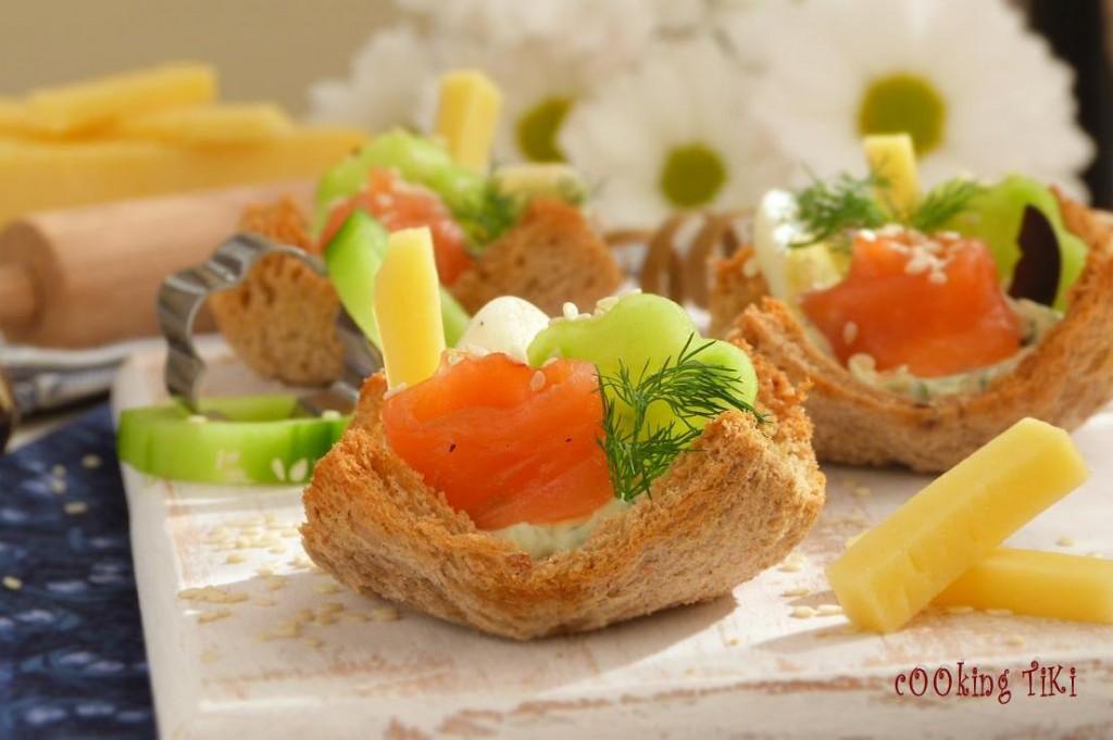Предястие с пушена сьомга2 1024x681 Bread cups with smoked salmon