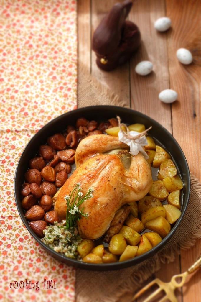 Пълнено пиле с гарнитура от кестени и картофи1 682x1024 Bulgarian style stuffed chicken
